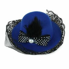 BT Feather Dots Bow Hair Clip Lace Blue Mini Top Hat Party Cosplay Goth