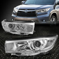FOR 14-16 TOYOTA HIGHLANDER CHROME HOUSING CLEAR CORNER PROJECTOR HEADLIGHT LAMP