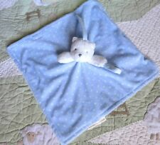 Blankets & Beyond Blue Plush w White Polka Dots Bear Baby Boy Security Blanket