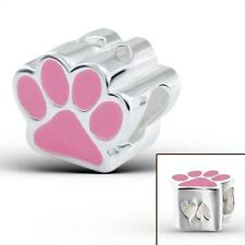 925 Sterling Silver Pink Dog Paw Print Footprint Bracelet Charm Bead Gift B380