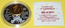 Insel of Man 1 Coin(gilded)+Medal 40mm, 31g, Proof Like + Zertifikat