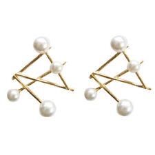 925 Sterling Silver Ear Stud Fashion Geometric Pearl Earrings Simple Modern