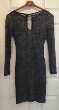 Bisou Bisou Black & Gold Long Sleeve Dress Size 6
