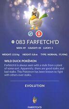 Farfetch'D #083 Pokemon Go ✔  Regional ✔ Shiny Chance ✔ 100% Quick & Safe