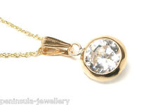 "9ct Gold CZ Pendant and 18"" chain Gift Boxed Necklace Made in UK"