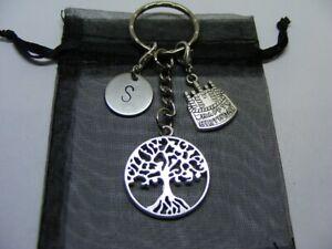 Personalised Birthday Gift - Tree Of Life Charm Keyring - Choose Initial