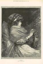1891 Antique Print - FINE ART Sunbeams Davidson Knowles Girl Tambourine   (206)