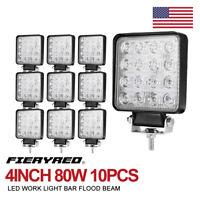 4Inch 80W Square LED Work Light Bar 10Pcs Flood Beam Offroad Driving Lights Pods