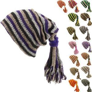 SLOUCH BEANIE HIPPIE TASSEL HAT FESTIVAL FOUNTAIN Wool Knit Fleece Lined