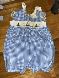 New W/Tags Collection Bebe by ViveLaFete Smocked Duck Bubble / Shortall Sz 9M