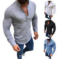 Mens Linen V Neck T-Shirt Button Long Sleeve Slim Tee Shirt Tops Blouse Casual