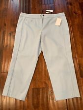 Magaschoni Collection Textured Light Blue Cropped Pants, Size 10, NWT!
