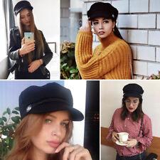 Ladies Womens Girls Wool Blend Baker Boy Peaked Cap Newsboy Hat #Black