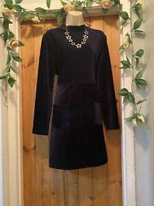 MANTARAY MIDNIGHT BLUE HIGH NECK VELVET POCKET  DRESS SIZE 16