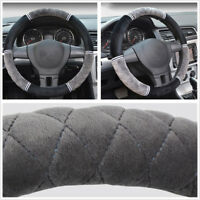 38cm/15inch Short Plush Car Steering Wheel Cover Antiskid Breathable Keep Warmer