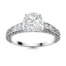 CERTIFIED 1.01 Carat GH/SI Genuine Diamond 14k White Gold Vintage Style Ring