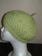 Hand Knit 100% Wool Beret Hat Cap Green Women's Teen's Junior's