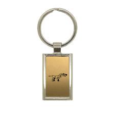 Porte clé en métal or brossé Chien de chasse 2 Rectangle gravure laser