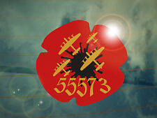 Bomber Command 55573 Remembrance Poppy Car Decal/Sticker *WW2*Lest We Forget*