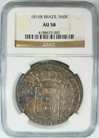 1816 Brazil 960 REIS Silver NGC AU 58 Struck Over 8 Reales Pillar Coin of 1806