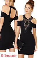 Vestito donna sexy abito nero tubino pizzo macramè maniche corte elasticizzato