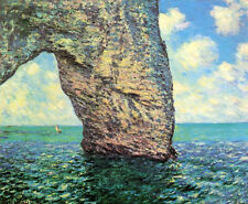 Nice Oil painting Claude Monet - The Manneport at High Tide seascape canvas