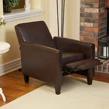 Contemporary Design Marbled Brown Leather Armchair Recliner