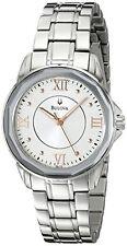 Bulova Round White Dial Stainless Steel Quartz Ladies Watch 96L172