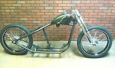 Flat Track Bobber Rolling Chassis, Springer Front End Black Powder coated Wheels