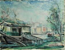 """Pierre Ernest Kohl - ( 1897- 1985). Huile sur toile ."""" Bateau - lavoir""""  v 883."""