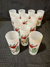 12 Vintage Frosted West Virginia Glass State Bird Cardinal Highball Tumblers