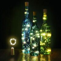 Xmas Wine Bottle Cork Shaped String Light 15/20LED Night Fairy Light Lamp Party
