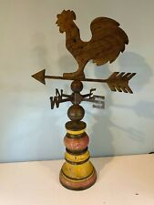 Table Top Metal Rooster Weathervane Wood Pedestal Chicken Weather Vane c 543