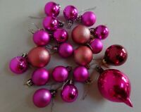 Vintage retro assorted Christmas tree glass baubles colour pink plastic decs