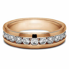 Ring 14Kt Rose Gold Band 7 6 5 Round Cut Solid 0.50 Ct Diamond Mens Engagement