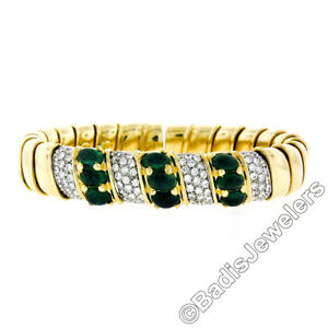 18k Solid Gold 7.50ctw Cabochon Emerald & Diamond Flexible Cuff Bangle Bracelet