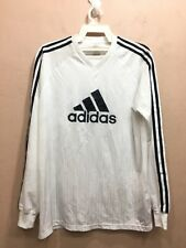 VTG ADIDAS 3 STRIPED CLIMALITE LONG SLEEVE V-NECK BIG LOGO SPELL OUT