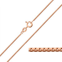 9ct Rose Gold Plated on Sterling Silver 1mm BOX Chain Necklace