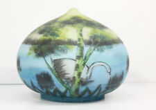 Vintage Antique Reverse Painted Glass Lamp Shade Swan Swamp Design