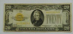 1928 - $20 Gold Certificate - Woods / Mellon - Circulated