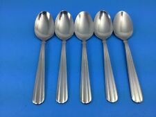 "Gibson Scope Duchess Set Of 5 Soup Spoons Lines Band 7 1/4"" Stainless Flatware"