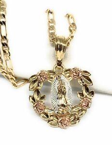 """Virgen De Guadalupe Medalla Pendant Necklace 24"""" Flores Cadena Oro Laminado"""