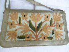Vintage (1970s?) Art Deco Style Needlework/Grey Leather Clutch/Shoulderbag