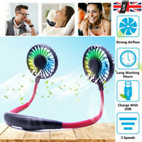 Portable Mini LED Fan Neckband Lazy Neck Hanging Dual Cooler B Rechargeable AM