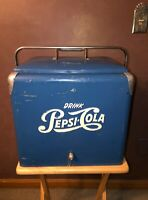 Vintage PEPSI COLA Blue Picnic Cooler Ice Chest Progress Refrig. Clean & Complet