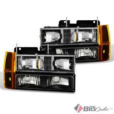 For 94-98 GMC C/K Pickup Black Headlights w/ 4pcs Corner & Parking Signal Lights