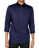 INC Mens Blue US Size XL Long-Sleeve Button Down Velvet-Collar Shirt $69 052
