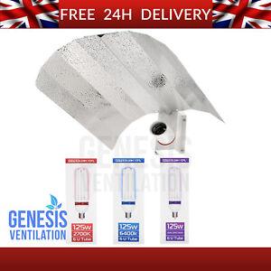 CFL 125W Bulb Euro Shade Reflector Grow Light Kit Hydroponics 125 Watt Cool