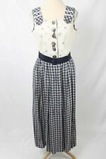 Vintage Hagro Country Size 40 or US 8 Beige & Navy Plaid Dress W/Belt 2702 L217