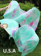 Silk Fan Veils Belly Dance 100% Silk 1.8m USA Store Quick Ship  FREE Gift